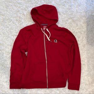 Express Men's Red Zipper Hoodie Sweater
